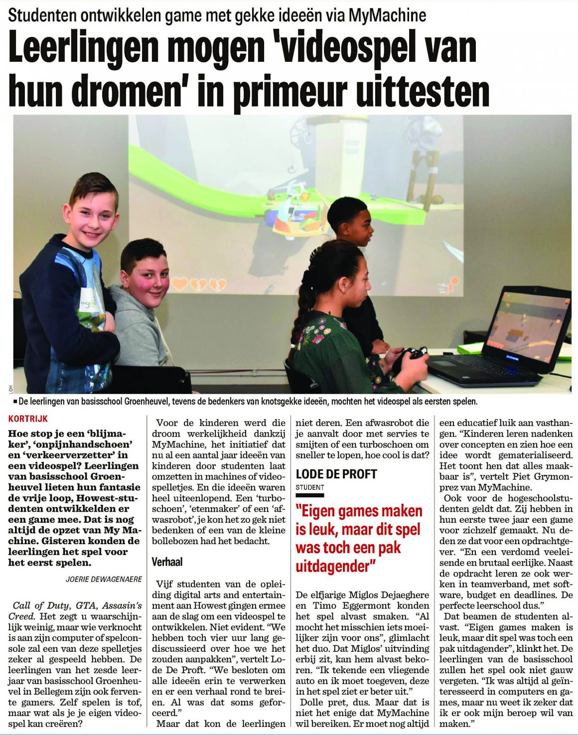 Groenheuvel-uitvinders testen hun game in hogeschool Howest – The Level
