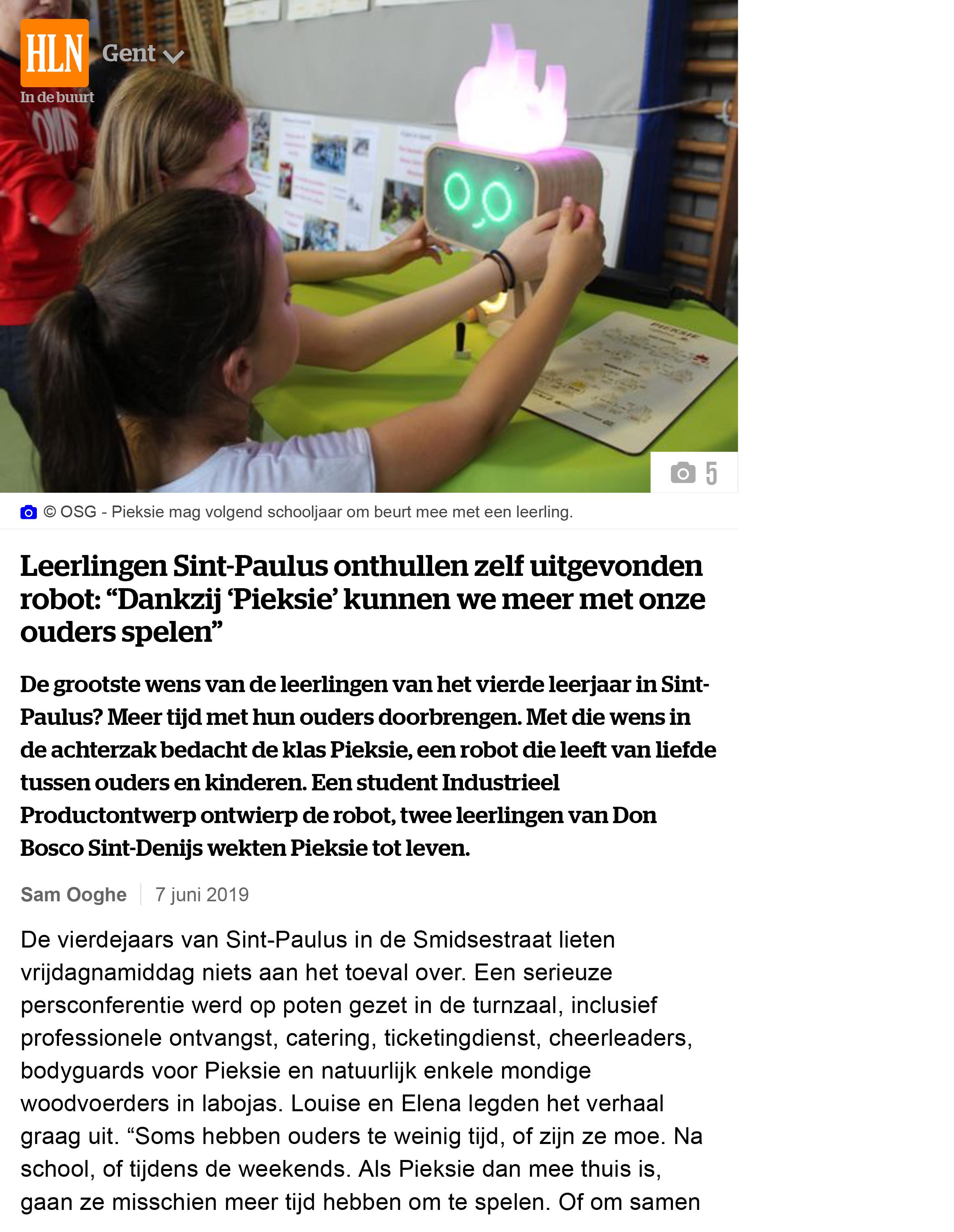 """Leerlingen Sint-Paulus onthullen zelf uitgevonden robot: """"Dank"""