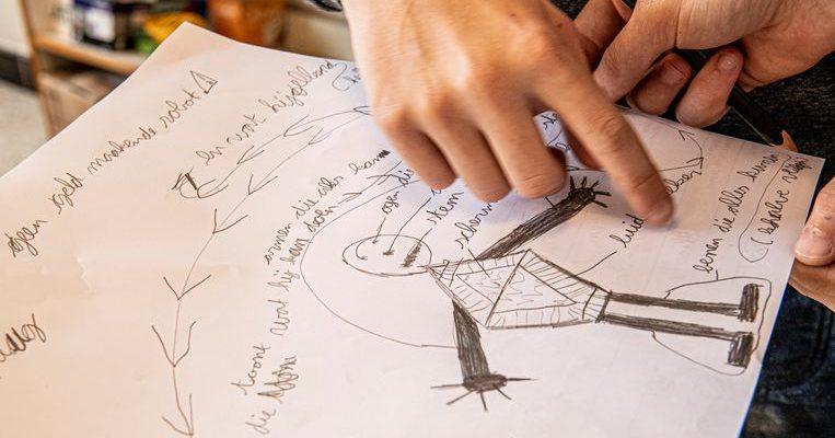 Creativiteits sessie in lager onderwijs door hogeschoolstudenten