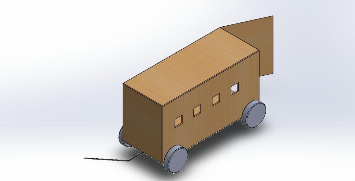 "Schets van de ""trash trolley"""