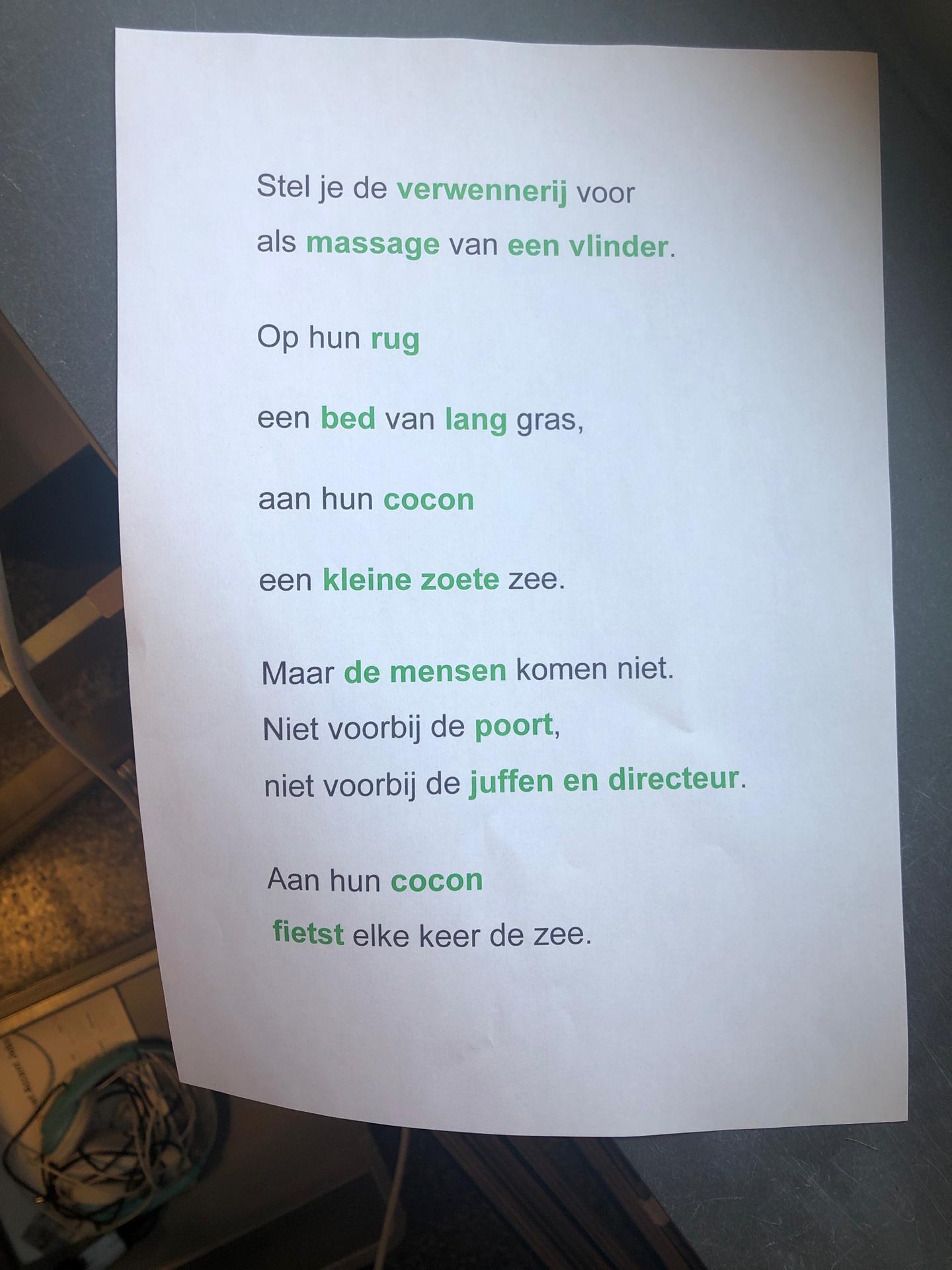 Het gedicht van de Verwenvlinder